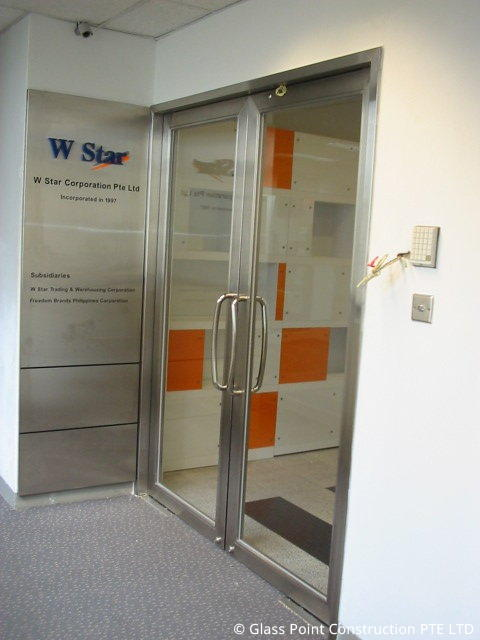 Door with stainless steel frame