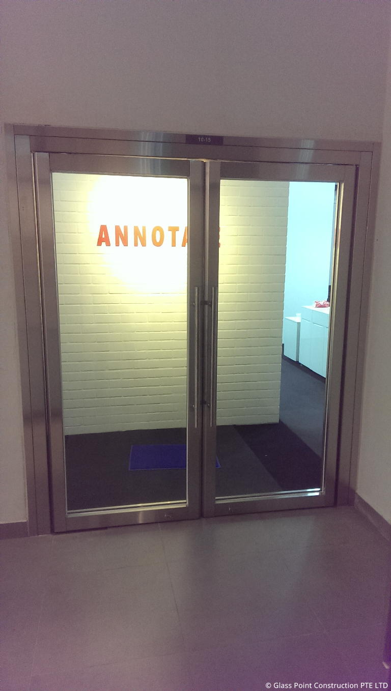 Fire rated glass door panel glass point construction for 1 hour fire door specification